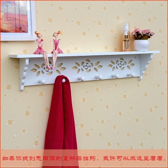Creative pastoral coat hooks wall door after clothes rack bedroom hanging clothes rack on the wall shelving rack decorative shelf - 2