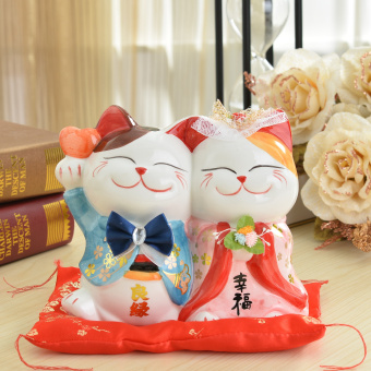 Creative Wedding Gift Ceramic Lucky Cat Home Opening Shop Ornaments