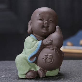 Cute Buddha lucky five tea pet small monk sand tea pet boutique purple tea pet tea accessories Handmade Ornaments
