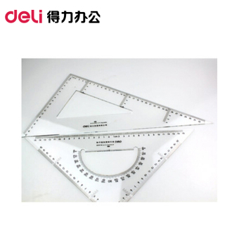 Deli 13 cm/18 cm/23cm plastic triangle ruler set square suitstudent stationery sets foot drawing special foot