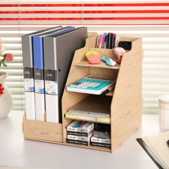 Deli stationery wooden creative file holder basket data framefile  column office supplies desktop storage Finishing For Sale Storage Office Desktop File Column Shelf Singapore