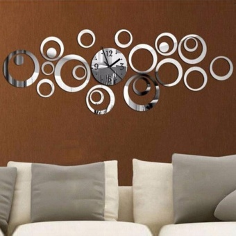 DIY Circle Solid Acrylic Mirror Wall Clock Creative 3D Home Decoration - intl