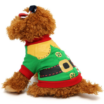Dog Clothes Christmas Santa Doggy Costumes Clothing Pet Apparel Green+Red S