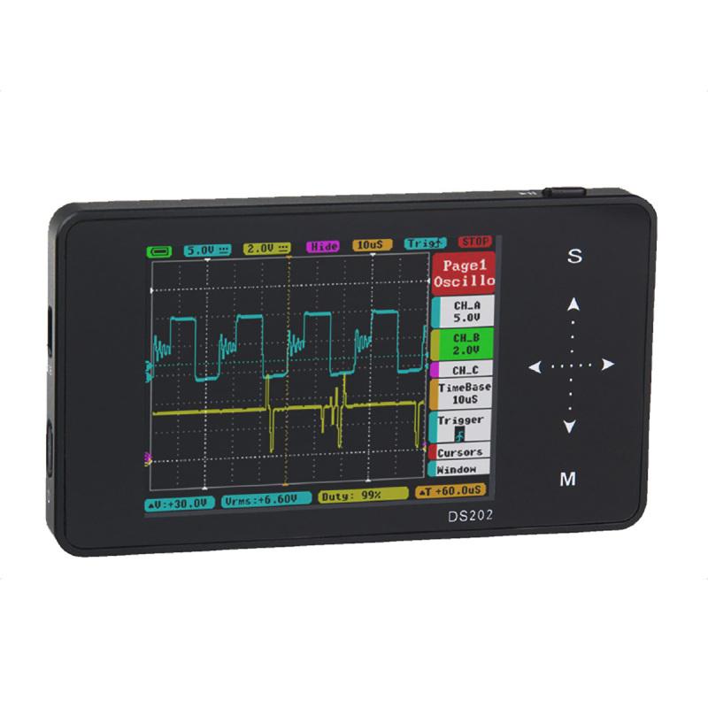 DS202 3 TFT LCD Portable Pocket Digital Oscilloscope - Black