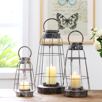 European and American-porous Wrought Iron Glass candlestick candle holder lantern