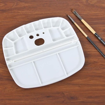 Folding Painting Palette Oval Inserted pen Mixing Color PalletWatercolor Tray - intl