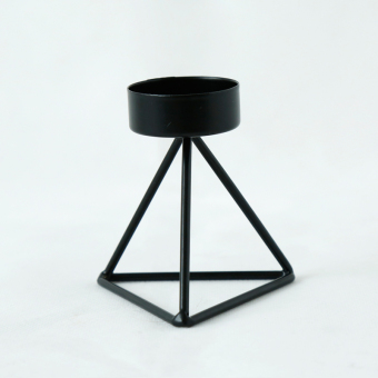 Geometric metal wrought iron candle holder