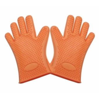 Gloves thick silicone gel high temperature five fingers gloves used for microwave oven ,grill, baking, smoker or cooking gloves - intl(A glove)