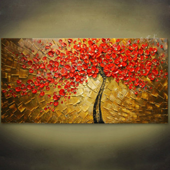 Harga Hand-painted three-dimensional fortune tree red oil painting