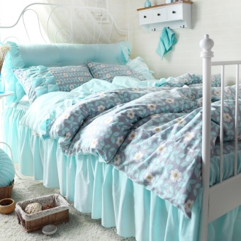 he hao textile small fresh floral cotton four sets of korean bed skirt princess style cotton