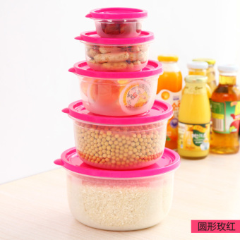Home sealed crisper plastic Round 5 sets of food storage box of instant noodles Bowl lunch box can microwave