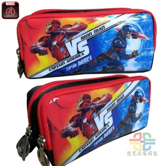 Harga American captain vs revenge the hero Alliance Iron Man student Double pencil storage bag large capacity stationery box