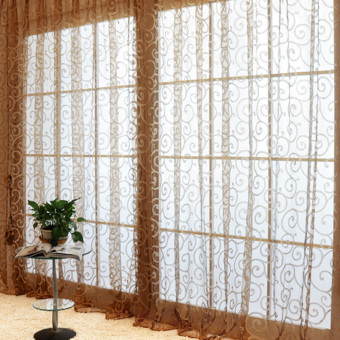 Harga Solid Sweet Floral Tulle Voile Door Window Curtains Coffee