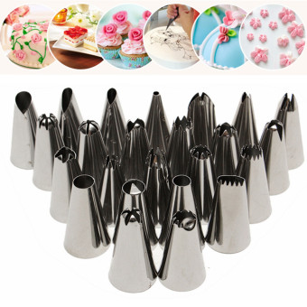 24Pcs Icing Piping Nozzles Pastry Tips Cake Sugarcraft Decorating Baking Tool+100pcs Disposable Icing Piping Cake Pastry Cupcake Decorating Bags
