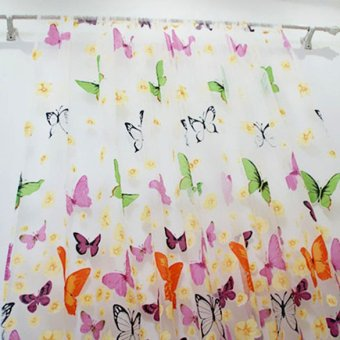 Harga Colorful Butterfly Burnt-out Printing Sheer Curtain