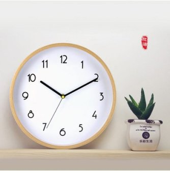 Creative modern minimalist living room solid beech wood round wooden wall clock mute quartz clock fashion clock