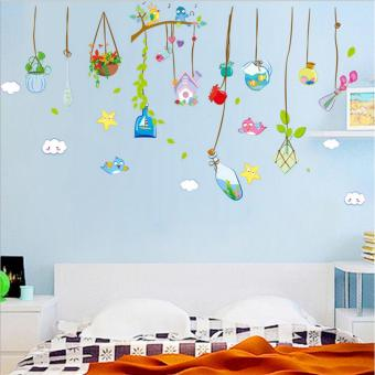 Harga Mimosifolia Drift bottle chandelier Wall Sticker Decal Wallpaper PVC Mural Art House Decoration Home Picture Wall Paper for Adult Kids - intl