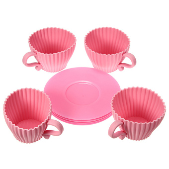 Harga 4pcs Silicone Cupcake Cups Muffin Baking Cake Tea Saucer Teacup Mold Mould Maker