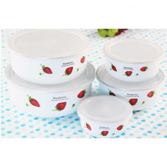 Harga Enamel sealing bowl covered 5pcs Round with cover mini lunch box for the kitchen mixing Bowls