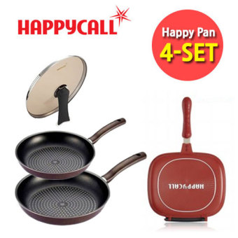 Harga [Happy Call ] Planning Product 4-set (Duplex Pan + Frying Pan 2ea + Lid) / happycall pan / Made in korea /Grill pan/ Wok / Korea Food / cookware / Fry pan / wok / Kitchen / dining