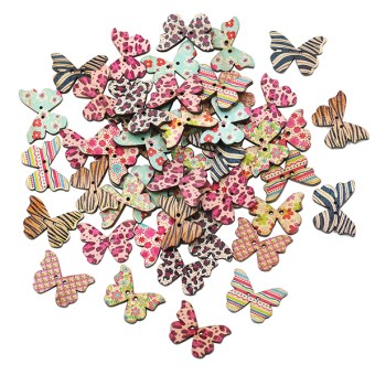 Bluelans 2 Holes Wood Natural Butterfly Sewing Scrapbook Craft Decor Buttons 50pcs