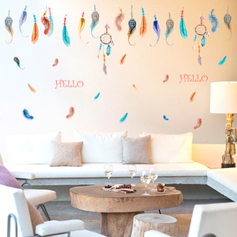 Harga Removable wall stickers fashion painted feather wallpaper adhesive sticker bedroom cozy living room background wall decoration