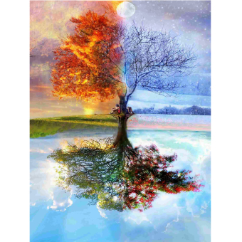 Harga Full Drill Wishing Tree 5D Diamond DIY Painting Craft Home Decor - intl