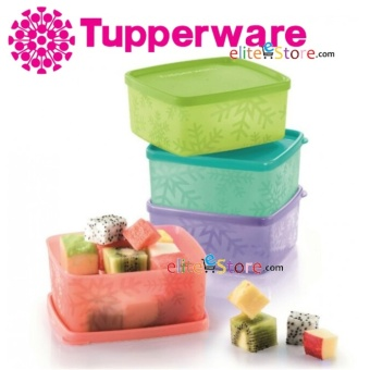 Harga Tupperware Snowflake Square Round 400ml 4in1Set (4Colours in 1set: LIME, BLUE, PURPLE, PAPAYA RED)