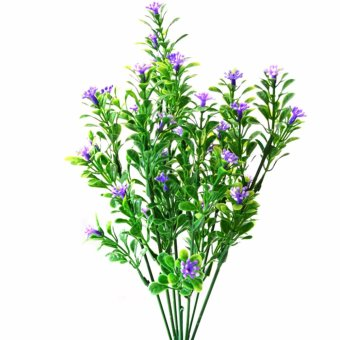Harga 7 branch/bouquet silk fake Green plant fake milan artificial grass with leaf Setting wall decoration flower accessories (Purple) - intl