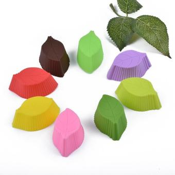 Reusable Silicone Baking Cups Cupcake Liners Muffin Cups Cake Molds, Leaf-Shape, 12 Pieces - intl