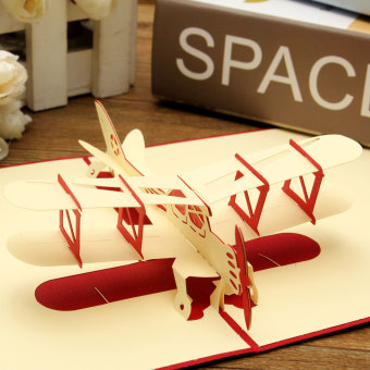 Harga 3D Pop Up Greeting Card Airplane Handmade Birthday Valentine Easter Thank You Red - intl