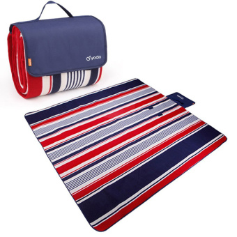 Harga YODO Foldable Moisture-proof Mat Pad Water-Resistant Picnic Blanket Tote (200 x 200cm) - Red / Blue Stripes