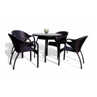BFG Furniture Elba Dining Set Outdoor Furniture Rattan (Aluminium Frame)(Black)