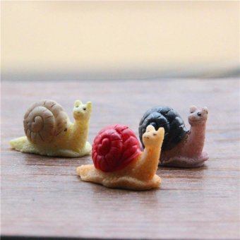 Harga 3 PCS Mini Bonsai Decoration Resin Snails Figurine Miniature Micro Landscape Fairy Garden Ornaments - Int'L