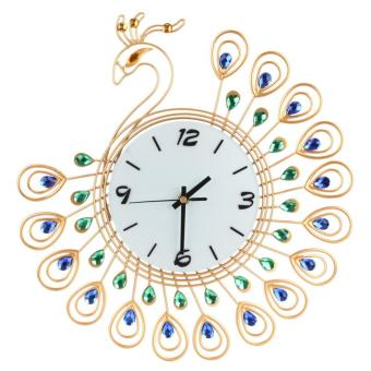 Harga Luxury Diamond Peacock Large Metal Living room Wall Clocks Gold