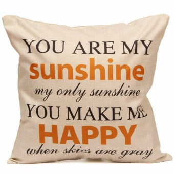 Harga ''You Are My Sunshine'' Cotton Linen Throw Pillow Case Cushion Cover Room Sofa