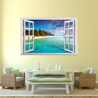 Harga European creative living room background wall sticker fake window wall stickers decoration window beach sea lake