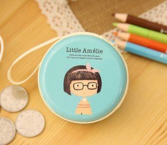 Harga Amelie Light Blue Cute Cartoon Tin Coin Pouch Earphone Holder