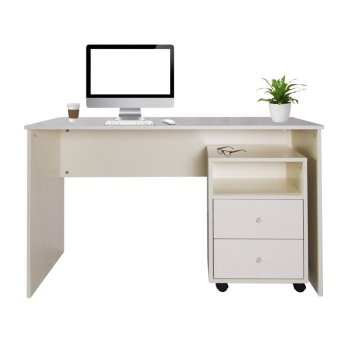 Harga Milton Study Table with Drawer Cabinet Cream Colour (Fully Assembled)