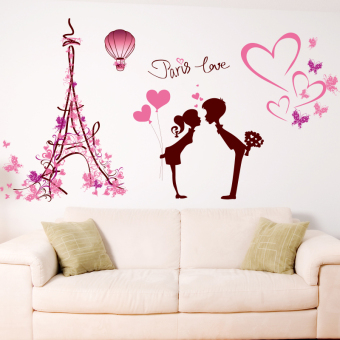 Harga Loving couple love in paris ornaments marriage room cozy bedroom romantic living room tv wall stickers furnishings wall stickers sticker