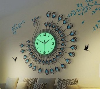 Peacock living room modern minimalist fashion creative super luminous clock bedroom mute quartz clock chinese style wall clock