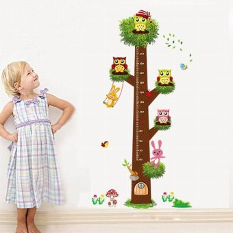 Harga EOZY Owl Height Chart Wall Stickers Decals Art Poster For Kids Room Decoration - intl