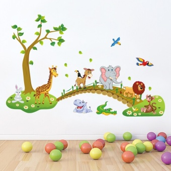 Harga 3D Cartoon Jungle wild animal tree bridge flowers wall stickers for kids room living room lion Giraffe elephant birds home decor - Intl