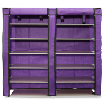 6 Layer Double Row Covered Shoes Rack Storage Shelf Organizer Cabinet Closet