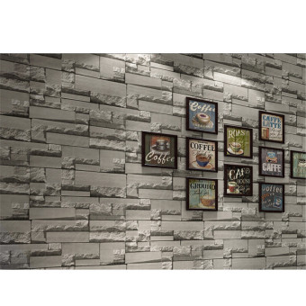 Harga High Quality Promotions Details about 3D 10m Brick Wallpaper Roll White Textured Non-woven Flocking Home Wall Paper 69143 - intl