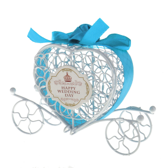 Harga Happy Wedding Day Metal Carriage Candy Gift Box Wedding Party Decor Blue - intl