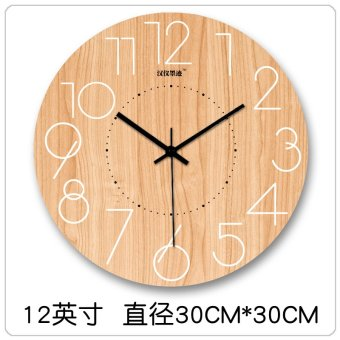 Scandinavian modern minimalist fashion creative digital wooden large living room wall clock mute clock quartz clock 722