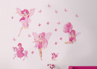 Cute Fairy Fairy Tale Children Room Decorated Wall Stickers PVC Transparent Wall