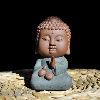 Tao fans boutique tea pet Buddha road six of clay purple handmade sculpture crafts ornaments TEA Tea accessories