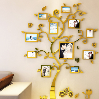 Harga 3d three-dimensional tree mirror wall stickers photo wall photo wall small fresh warm minimalist modern living room bedroom children's room